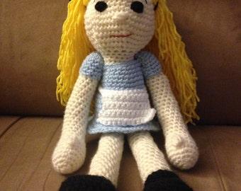 Crocheted Alice In Wonderland Doll