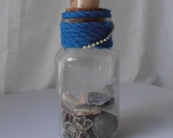 Table top sea shell jar, Sea shell home decor, Shell decor, Sea shells, Shells, Beach decor, Coastal decor beach