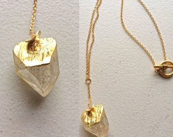 """21.5""""long bold and unique Crystal Quartz necklace , TARNISH FREE,14ct gold filled chains and clasp, crystal,summer,, clear"""
