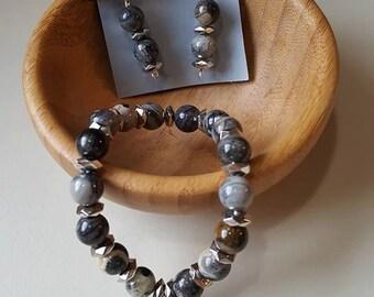Silver Leaf Jasper Jewelry set