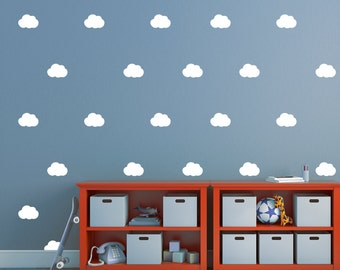 Cloud Wall Stickers, Set of 28 Decals, Cloud Wall Decals, Cloud Pattern, Vinyl Decal Set, Nursery Decals, Nursery Decor, Gift ideas