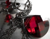 Deep Red Crystal Necklace, Swarovski Red Teardrop Crystal Pendant Necklace, Valentines Day Gift for Her, Red Black Goth Gothic Jewelry