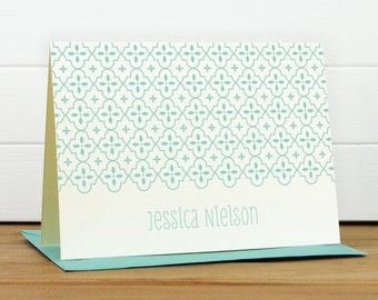 Personalized Stationery Set / Personalized Stationary Set - QUATREFOIL Custom Personalized Notecard Set - Modern Pretty