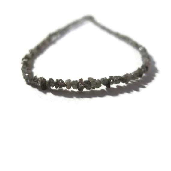 Rough Diamond Beads, Tiny Silvery Gray Nuggets, Natural Raw Diamonds, Conflict Free, 8.5 inch Strand, Gray Diamonds (S-Di8b)