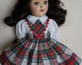 """RESERVED FOR SANDY  Red Plaid Schoolgirl Dress For Ideal 14"""" P-90 Toni Doll"""