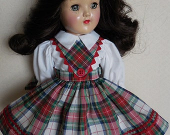 "For Ideal 14"" P-90 Toni Doll - Red Plaid Schoolgirl Dress. Also Fits Rosette, Bleuette Big Sister"