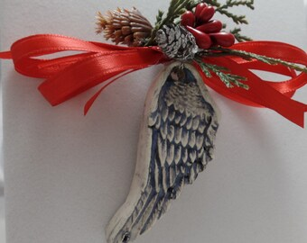 Angel Wing Ornament Ceramic Double Sided Red Ribbon Christmas Ornament Decoration Home Decor Wing Handmade in USA