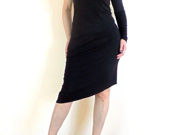 Black One Shoulder  Asymmetric Midi Dress - Party Dress -   Dress from Black Jersey, No.006