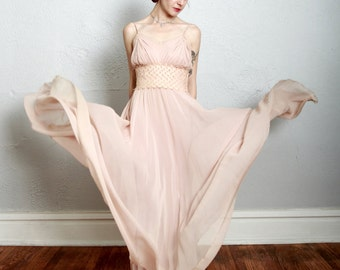 RESERVED ...... SALE - Silk Bias Cut Gown . Champagne Pink . Heart Lace