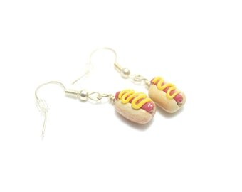 Hot Dog Earrings, Miniature Food Jewelry, Polymer Clay Food Jewelry