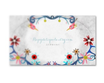 Floral Logo Business cards - Your information and my whimsical art