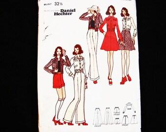 1970s Womens Shorts, Pants,  A-Line Skirt, Short Bomber Jacket Butterick Pattern designer Daniel Hechter Misses size 10 Sewing Pattern