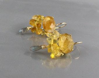 Dangle Citrine Earrings, November Birthstone, Bohemian Jewelry, Yellow Earrings, Dangle Earrings, Citrine Jewelry, Boho Earrings, Gift