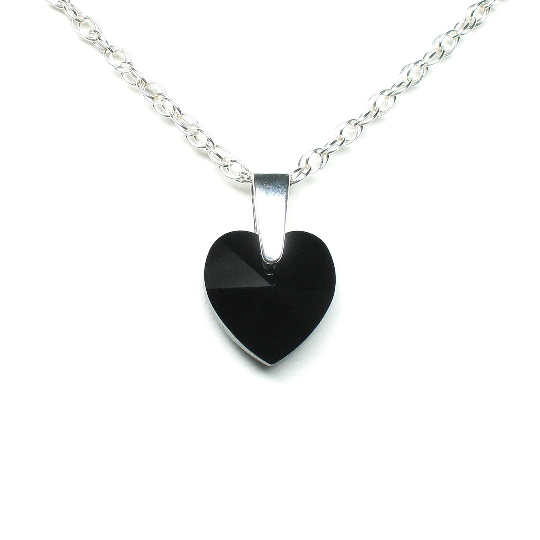 black crystal heart necklace swarovski crystal pendant black. Black Bedroom Furniture Sets. Home Design Ideas