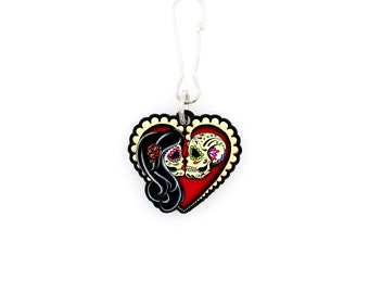 Ashes - Collar Charm / Key Chain / Zipper Pull - Day of the Dead Couple - Sugar Skull Lovers Heart