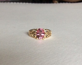 Pink Tourmaline in 10k solid gold size 7