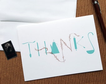 Screenprinted THANKS Greeting Cards - 5x7, Gratitude Theme Modern - Original Hand printed, Limited Ed