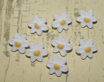 Sweet Tiny White Daisy Buttons Bead Charm Cottage Chic Shabby Farmhouse