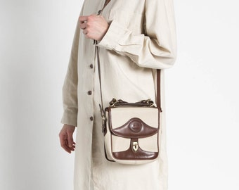 Vintage 80s Brown and Ivory Two Tone Dooney and Bourke Saddle Bag