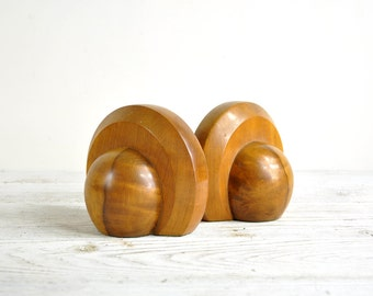 Wood Bookends, Vintage Art Deco Book Ends, Industrial Office Decor