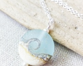 Beach Necklace, Ocean Necklace, Wave Necklace, Sea Glass Necklace, Beach Wedding, Gift For Her, Beach Pendant, Seaglass, Lampwork JBMDesigns