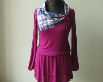 Plaid Cowl Neck Top, Upcycled T-Shirt, Pink T Shirt Dress, Cowl Neck Shirt, Refashioned Clothing, Tshirt Tunic, Girly Grunge, Magenta Purple