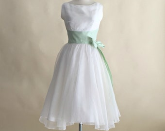 Vintage 1960s Wedding Dress...LORRIE DEB White Chiffon and Mint Wedding Dress