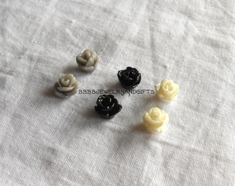 Rose Earrings Surgical Steel Posts 6mm  Choose Your  Post Stud Grey Black Off White