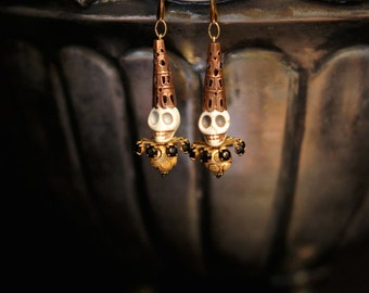 Dia De Los Muertos Earrings! Jewelry by Fae Factory Fantasy Artist, Dr Franky Dolan (Handmade jewelry Day of the Dead skull earring gold)
