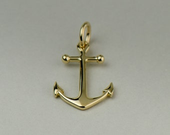 Solid Gold Anchor Necklace - 14k, 18k Yellow, White or Rose Gold. Fine Jewelry. Made in New York City, USA