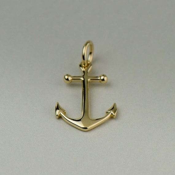 Solid gold anchor necklace 14k 18k yellow white or rose like this item aloadofball Choice Image