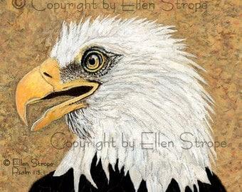 ACEO Card, Bald Eagle, bird art, bird ACEO, ACEO cards, bird decor, Ellen Strope, prints, art