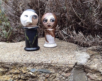 The Phantom of the Opera and Christine Daae: Spool dolls (NOT SPOOLKNITTERS)