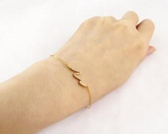 CZ curvy bar bracelet, gold filled bracelet, cz charm bracelet, gold layering bracelet, wave bracelet