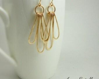 14k Gold Filled Teardrop Hoops - Long Triple Teardrop Earrings - Handmade Earrings - Eco Friendly Jewelry