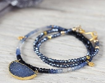 Beaded Sapphire Necklace - September Birthstone Necklace - Blue Druzy Necklace - Statement Necklace Gold - Blue Stone Necklace