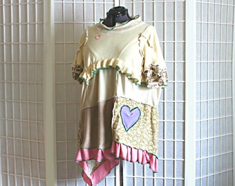 Upcycled Tunic Top Soft Muted Colors Heart Cream Beige Green Pink Recycled Clothing Size Large Extra Large XL