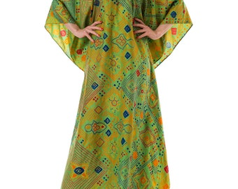 1970s Ethnic Printed Caftan Maxi Dress ONE SIZE
