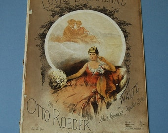 Antique sheet music, Loves Dreamland by Otto Roeder, Waltz sheet music, Art Nouveau woman portrait