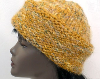Hand Knit Golden Hat - Modern Cossack Hat, Russian Style Winter Hat, Converts to Roll Brim Bowler Hat, Handmade in the USA, Ready to Ship