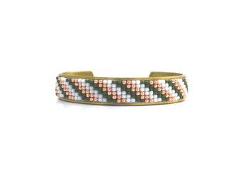 Hand Beaded Cuff Bracelet, Seed Bead Loom Bracelet, Adjustable Bracelet, Olive Green, Rose Gold, and White Stripes, Boho Cuff, Tribal Style