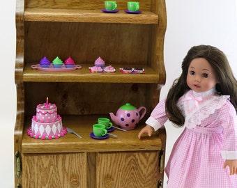 """18 Inch Doll Furniture / American Made Doll Furniture / 18"""" Doll Furniture / Oak Hutch"""