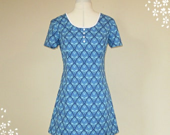 60s Mini Dress, Blue Paisley Dress, Low Round Neckline, Short Sleeves, Mod Dress, ALine Dress, 70s Dress, Scooter Dress, Twiggy, Psychedelic