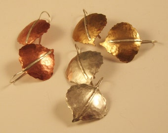 1 pair of Aspen Leaf Earrings in silver, copper or brass