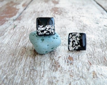Minimalist earrings Black silver stud earrings Trending jewelry Surgical steel ear posts Resin earrings Polymer clay earrings Square studs