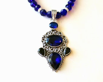 Sapphire Necklace, Sapphire Pendant, Sterling Silver Sapphire Pendant and Faceted Blue Glass Bead Necklace