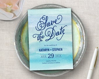 Printable Watercolor Ocean Save The Date - Instant Download