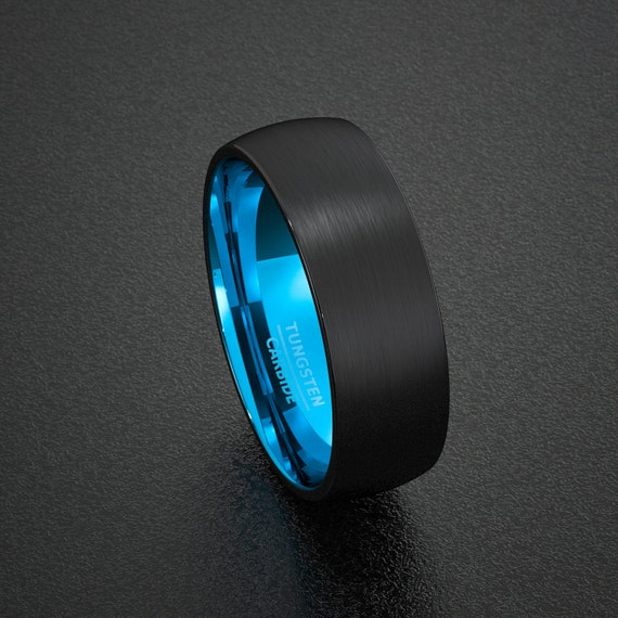Mens Wedding Band Tungsten Ring Two Tone 8mm Black By
