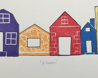 "Limited Edition Linocut Block Print - ""5 houses"""