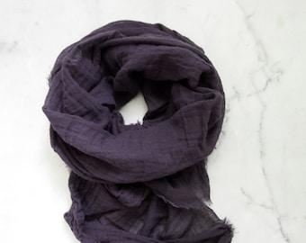 Eggplant Cotton Scarf, Eggplant Scarf, Aubergine Scarf, Purple Cotton Scarf, Purple Scarf, Lightweight Cotton Gauze, Hand Dyed, Acai Grape